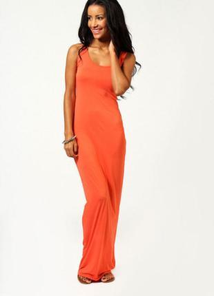 Длинное платье майка мешок макси в пол терракотовый цвет вискоза оверсайз большой размер