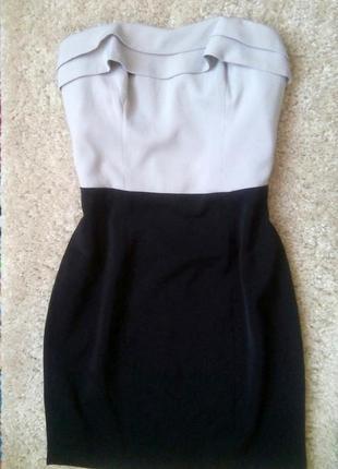 Платье бюстье от h&m, серый верх,черный низ