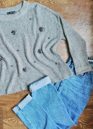 Стильный серый вязаный свитер zara oversize размер m расшитый стразами в форме цветов