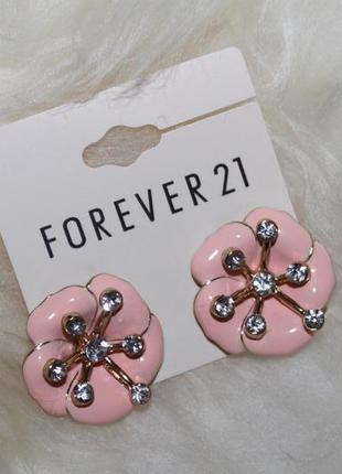 Forever 21 новые очень красивые нежные серьги цветочки, покрытие эмалью и позолота, высочайшее качес
