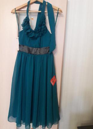 Изумрудное новое платье шифон
