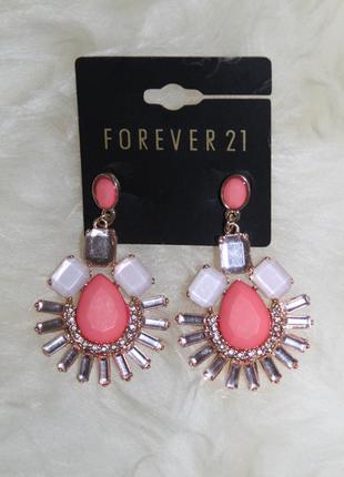Forever 21 новые очень нарядные серьги с камнями и позолотой, не темнеют, не ржавеют, супер качество