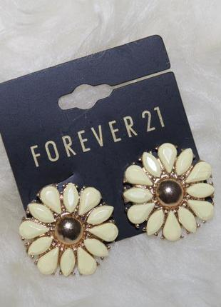 Forever 21 новые красивейшие серьги цветочки с камнями и позолотой, высокое качество