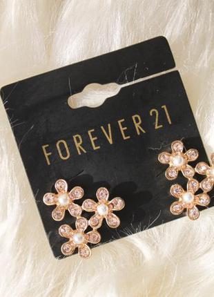 Шикарные серьги цветочки с позолотой и жемчугом, новые, forever 21
