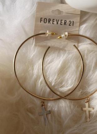 Новые серьги с позолотой, кольца с крестиками, forever 21