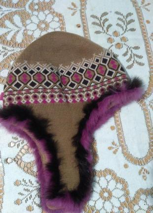 Крутая шапка с ушками мех фирма kangol