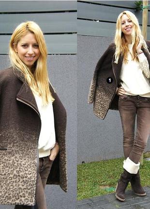 Нереально стильное шерстяное пальто с подкладкой, кожаными вставками, снижение цен!