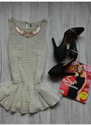 Блуза баска в бусинки topshop