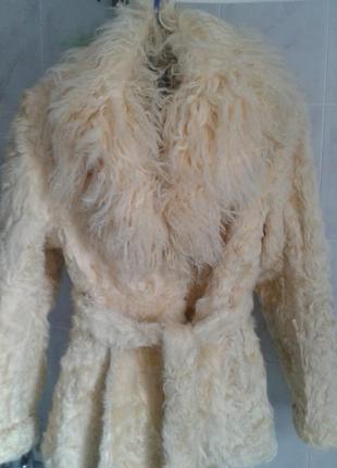 Натуральный полушубок из козлика с воротником из ламы
