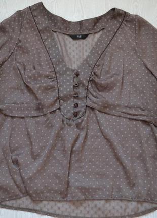 Блуза на завязках кофейного цвета большой размер