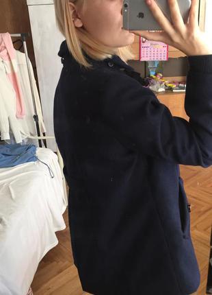 Темно-синее короткое пальто topshop