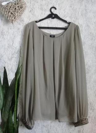 Оливковая шифоновая блуза на подкладе р.52-54 от  f&f