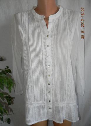 Белая тонкая кружевная блуза