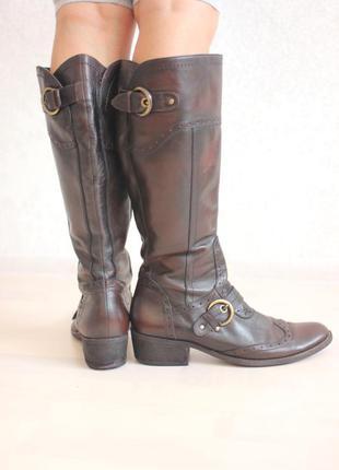 Кожаные сапоги в жокейском стиле, натуральная кожа, бренд janet d