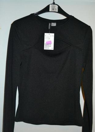 Новая чёрная трикотажная кофточка с длинным рукавом с вырезом на груди,  h&m, размер m.