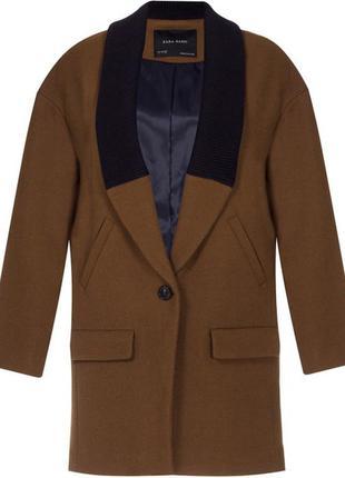 Крутое пальто бойфренд, кокон оверсайз от легендарного бренда zara шерстяное