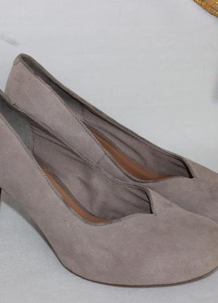 39 25,5см clarks замшевые туфли на каблуке кожаные