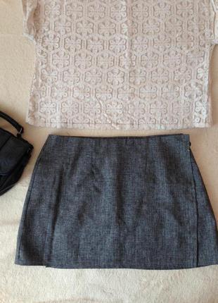 Базовая классическая серая юбка на запах (размер s/m), хлопок!