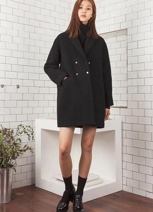 Темно-серое бойфренд пальто topshop прямое пальто
