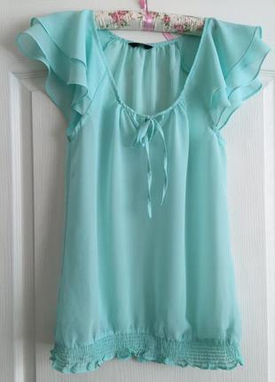 Мятная шифоновая блуза летняя бирюзовая с коротким рукавом удлиненная блузка