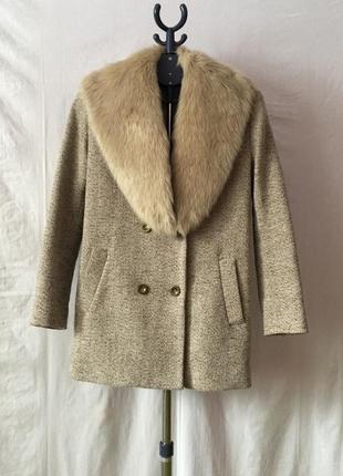 Модное шерстяное пальто бойфренд oversize с мехом осеннее весеннее
