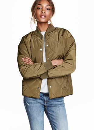 Новая весенняя стёганая куртка бомбер h&m , s,m