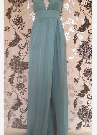 Новое небесно-голубое платье в пол bershka