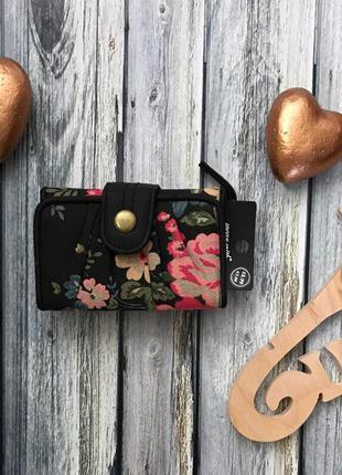 Симпатичный и практичный кошелек-портмоне из холщевого текстиля с ярким принтом