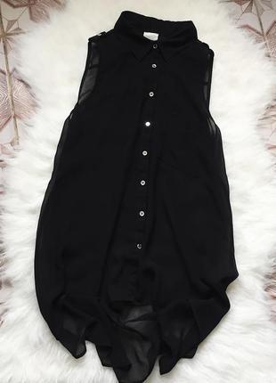 Шикарная чёрная шифоновая удлиннённая рубашка от g21