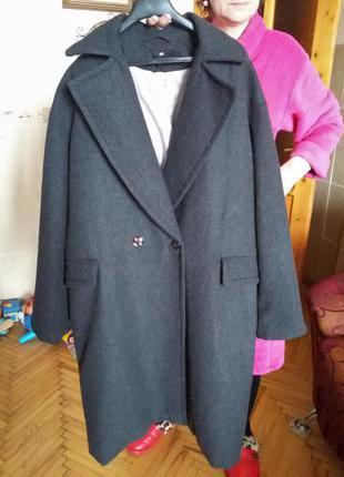 Шикарное трендовое шерстяное пальто бойфренд кокон от h&m