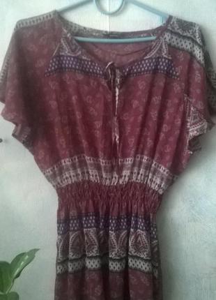 Шифоновая блуза george в стиле бохо, цветочный турецкий принт