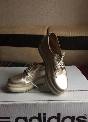 Ботинки кожаные золотого цвета wojas