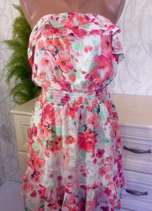 Яркое летнее платье,сарафан бюстье принт h&m р10