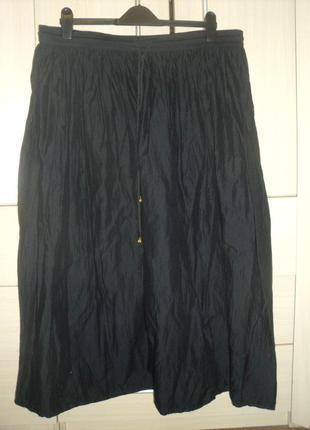 Легкая темно-синяя юбка большой размер
