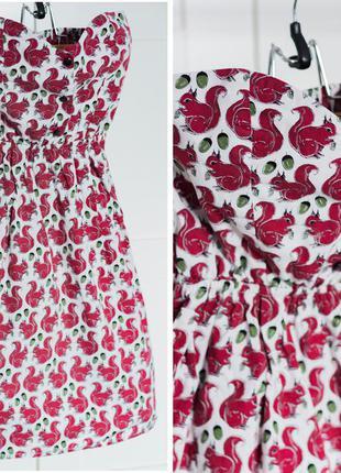 Платье-бюстье в белочках и орешках от topshop