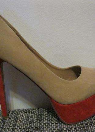 Стильные мега модные туфли лабутэны нюдового цвета на красной платформе 40/7