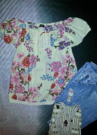 Солнечная блуза рубаха с цветочным принтом хлопок