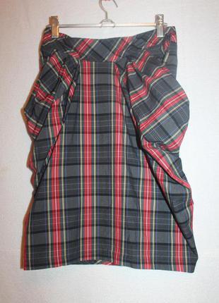 Юбка в клеточку с карманами, размер