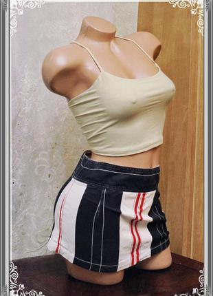 Джинсовая юбка с вертикальной полоской,р.s-m