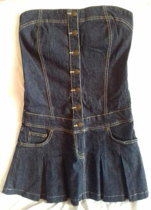 Джинсовый сарафан джинсовое платье бюстье