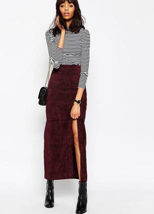 Новая юбка миди карандаш с высокой талией под замшу essentials