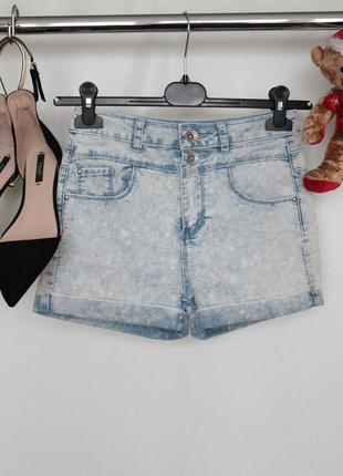 Lстильние джинсовые шорты с завышенной талией