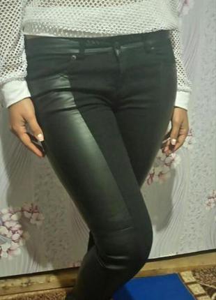 Штаны с кожаными вставками