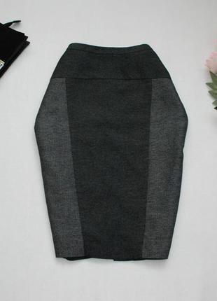 Серая юбка карандаш с контрастной вставкой стройнящая от next