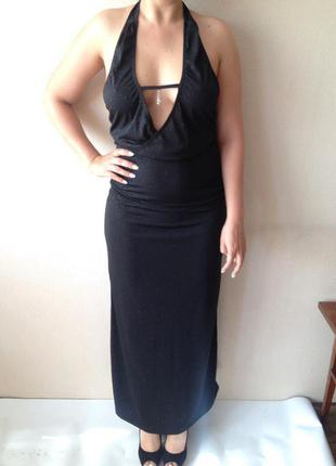 Вечернее платье черное длинное платье с открытой спиной большой вырез нарядное платье