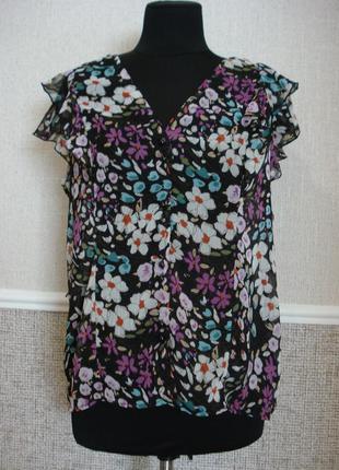 Шифоновая блузка летняя кофточка блузка с коротким рукавом большого размера 18(xxxl)