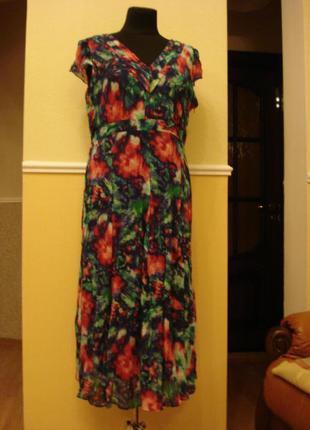 Летнее шифоновое платье с принтом большого размера 18(xxxl)