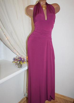 Шикарное платье в цвете марсала, размер s m l в наличии, идеальное платье в пол, открытая спинка