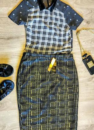 """Новая шикарная юбка карандаш, черная в серебряную """"лапку"""""""