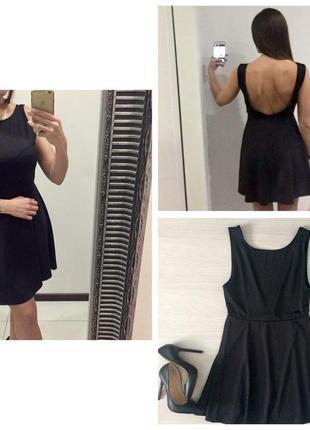 Шикарное черное базовое платья сарафан h&m с открытой спиной / юбка колокольчик /солнцеклёшь /  очен